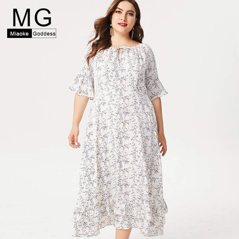MG 2019 Summer Plus Size womens Chiffon maxi dress fashion ladies off shoulder dresses party night