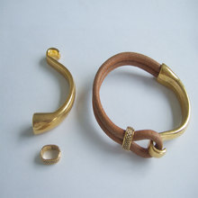 2Sets Antique Gold Cuff Hook Clasp Beads Slider Spacer For 9*5mm Flat Leather Cord DIY Bracele Accessories Findings