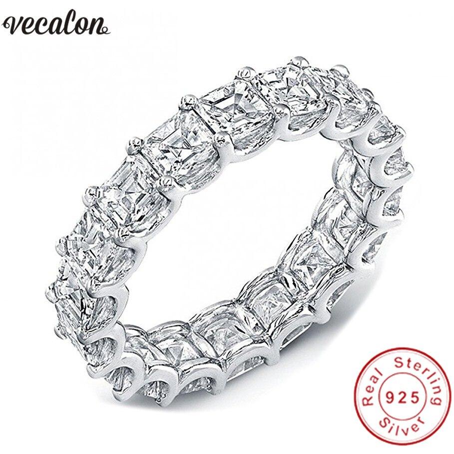 Vecalon Frauen Hochzeit Bands Ring 925 Sterling Silber Prinzessin cut 4mm 5A Zirkon Cz Verlobung ringe für frauen Finger schmuck