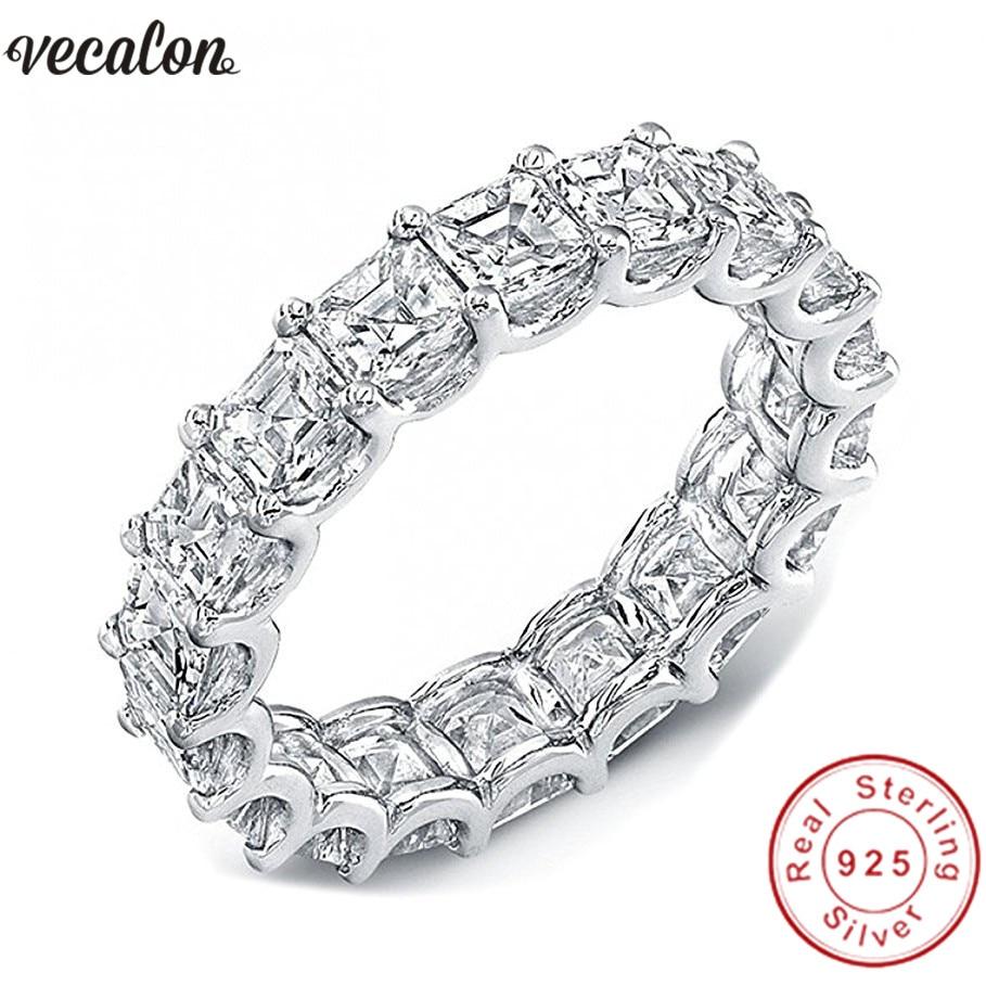 Vecalon Femmes Bandes De Mariage Anneau 925 Sterling De Princesse cut 4mm 5A Zircon Cz bagues de Fiançailles pour les femmes Doigt bijoux