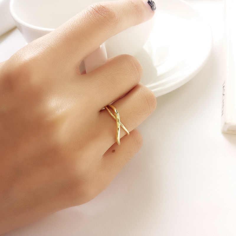 Inzatt Nyata 925 Sterling Silver Tidak Teratur Cross Bulat Pembukaan Cincin untuk Wanita Pesta Perhiasan Minimalis Aksesoris 2019