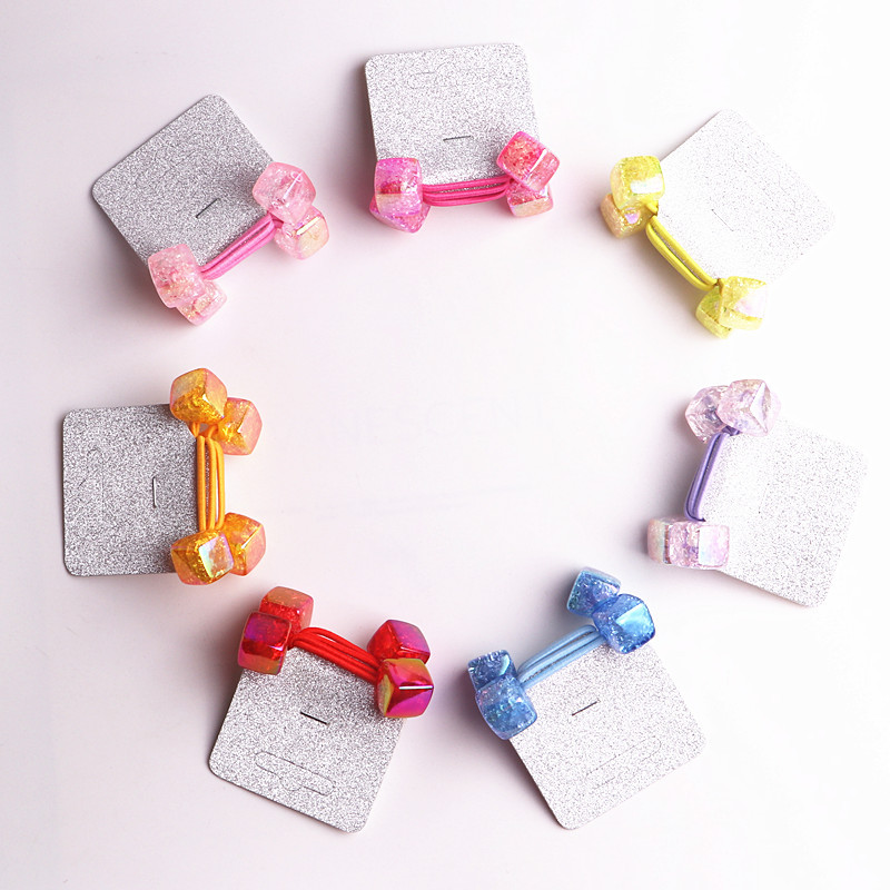 2018 New 20pcs/lot Children Accessaries 3D acrylic Square Blasting beads Balls Hair Bands Elastic Rope Ties Ponytail Holder