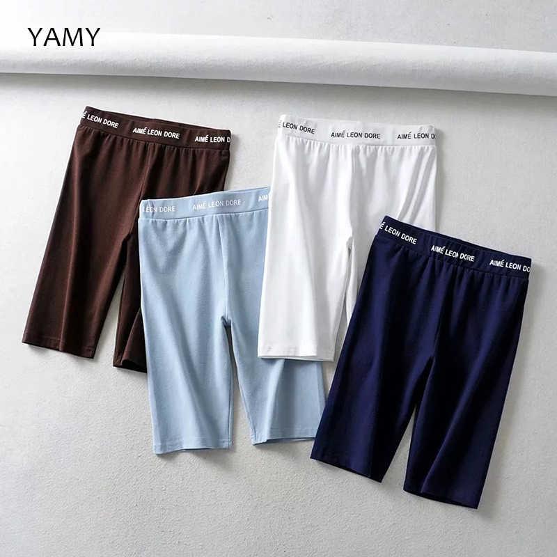Moda damska Biker spodenki elastyczne wysokiej talii elastyczne spodenki Streetwear Bodycon Sexy obcisłe krótkie spodnie letnie szorty