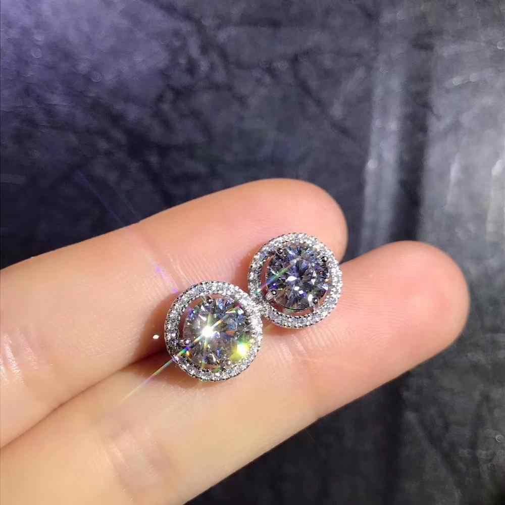 Şiir Of yahudi mağaza yuvarlak Moissanite kesim toplam 1.00ct elmas testi geçti Moissanite gümüş küpe takı kız arkadaşı hediye