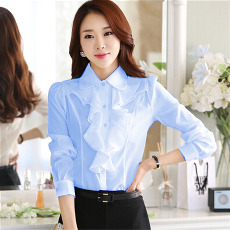 2018 Fashion Korean Style Office Work Wear Fashion Elegant Ruffles