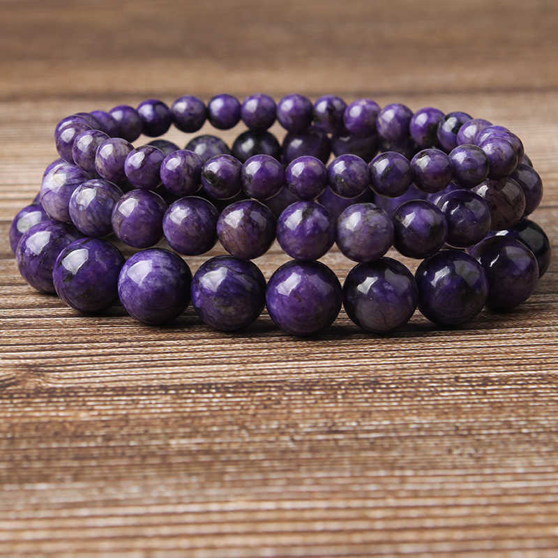 LanLi  fashion jewelry 6/8/10mm Charoite stones  loose beads Bracelet Charms Yoga Women meditation amulet