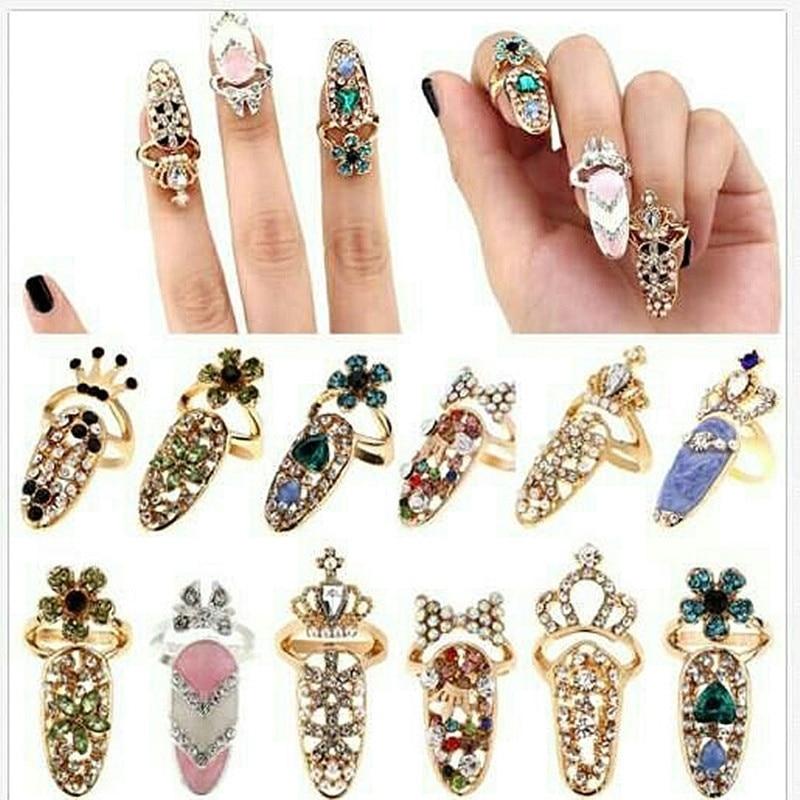 3pcs/set Fashion Crystal Nail Ring Women Alloy Art Decor Adjustable Jewelry for Ladies Girls