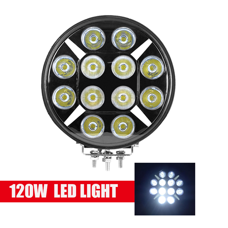 Waterproof 9inch 120W Round Off Road Flood Spot Combo beam DRL Led Work Lights White 6000k