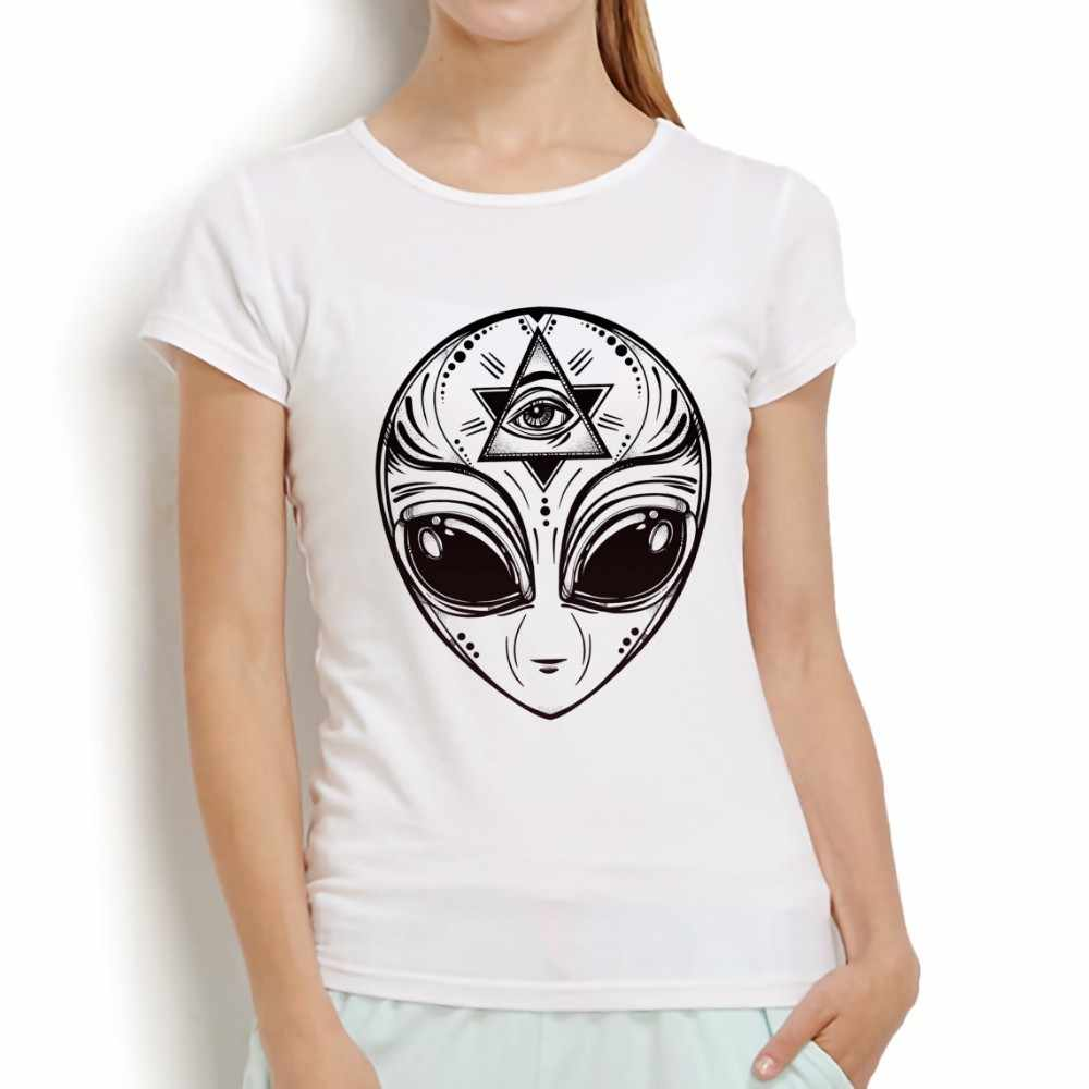 Gothic bí ẩn Người Ngoài Hành Tinh biểu tượng mát áo thun phụ nữ 2018 mới giản dị màu trắng ngắn tay áo o-cổ femme vui t áo sơ mi