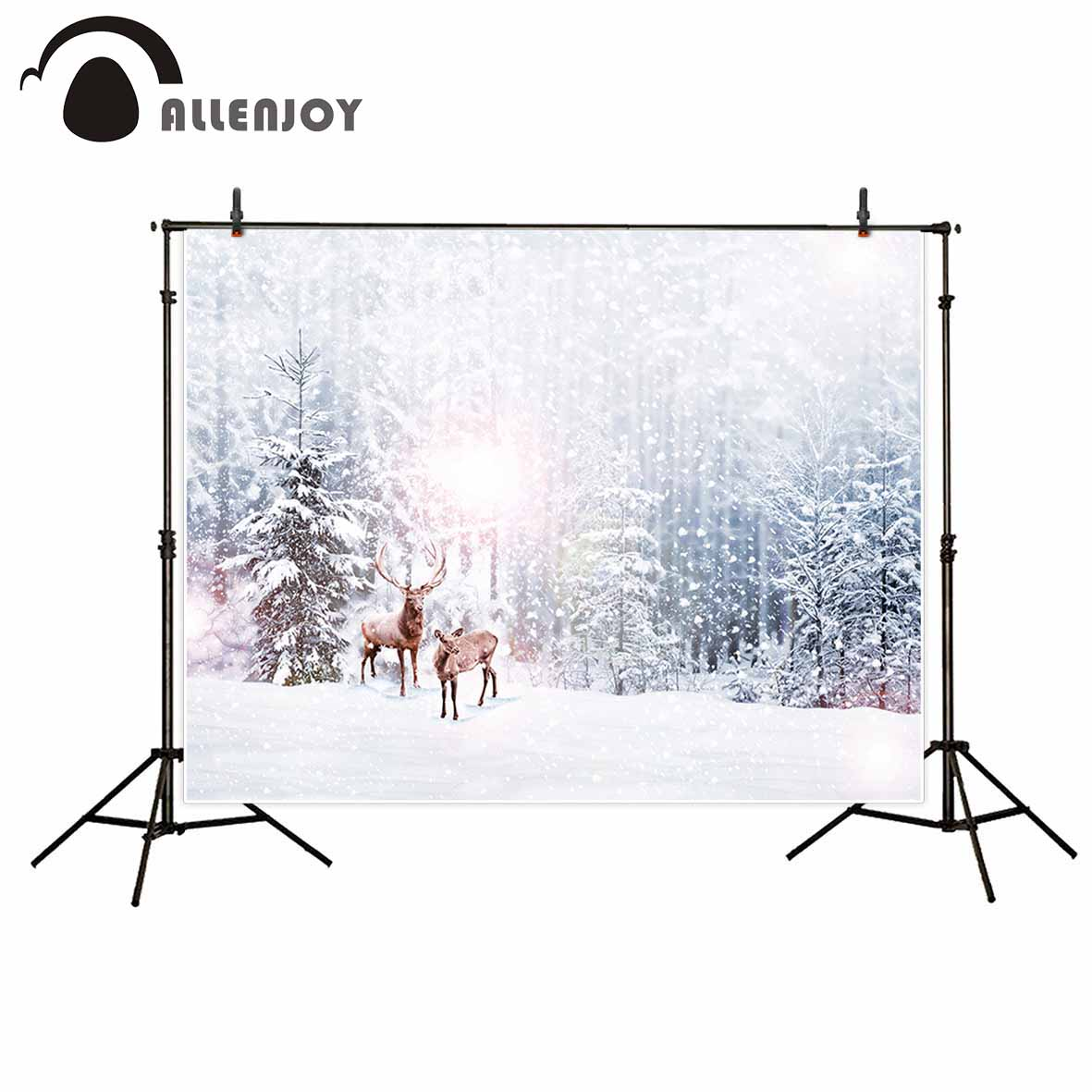 Allenjoy Winter background forest pine elk snow photography backdrops christmas decorations new backdrops photo studio 500g roll 0 6mm 500g 60 40 flux 2 0