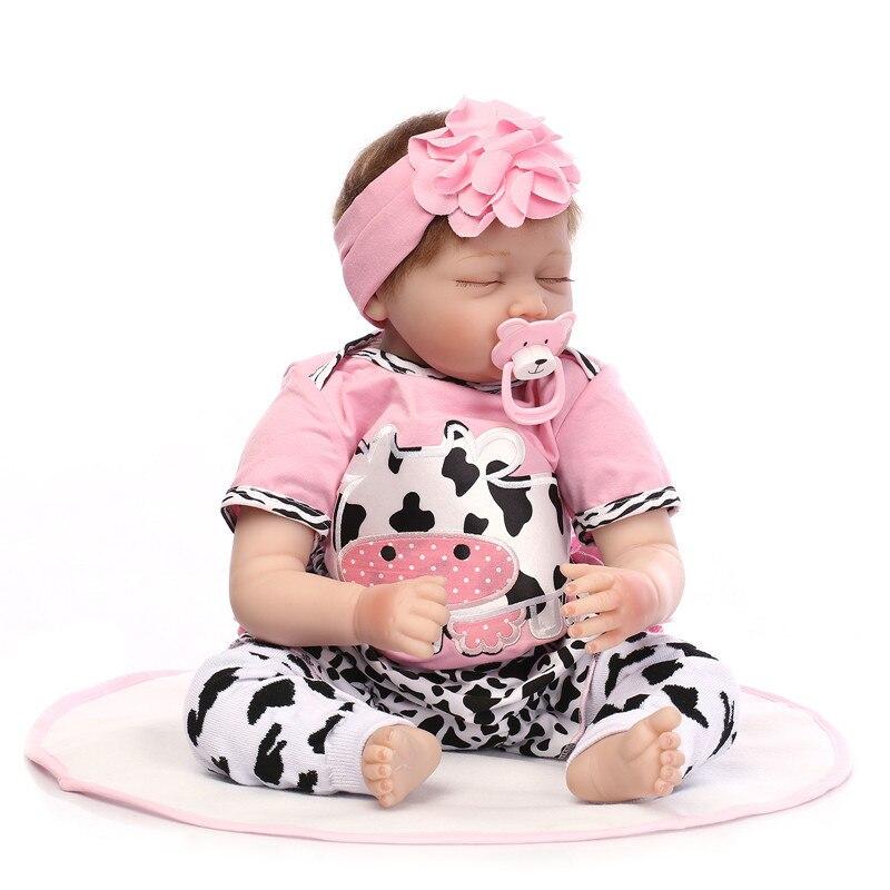 22 inch 브랜드 55cm 실리콘 reborn dolls 라이프 스타일 소프트 잠자는 아기 인형 reborn toys for girls bebe reborn-에서인형부터 완구 & 취미 의  그룹 1