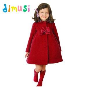 Зимнее платье для девочек DIMUSI, утепленное хлопковое платье для девочек, детское Однотонное шерстяное пальто с длинным рукавом, верхняя одеж...