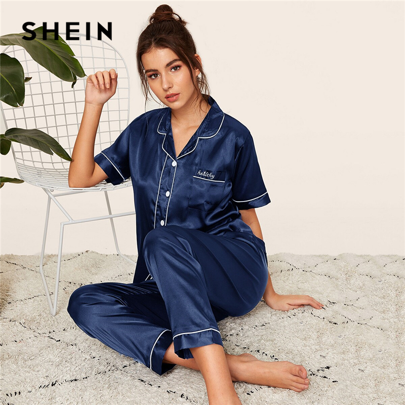 SHEIN Navy Letter Embroidered Satin Pajama Set Short Sleeve Long Pants Pajamas for Women Sleepwear Casual Ladies Pajama Sets-in Pajama Sets from Underwear & Sleepwears