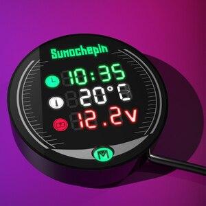 Image 2 - العالمي للدراجات النارية متعددة الوظائف LED الرقمية الفولتميتر ساعة متر ميزان الحرارة عرض الصك