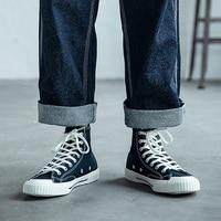 Men's High Top Sneakers Canvas Upper Vulcanized ShoesBlack Yellow Green