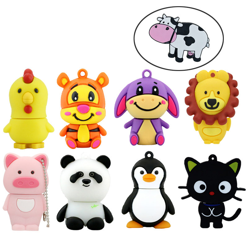 Cute Cartoon Cat Donkey USB Flash Drive Animal Lion Tiger Pig Memory Stick Pendrive USB Stick Pen Drive 32GB 16GB 8GB Flash Card