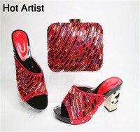 África Estilo Cristal de Zapatos Y Bolso A Juego Set Nueva Mujer Italiana Zapatos de Tacones altos Y Conjunto de Bolsas Para La Boda Vestido de Color Rojo G23