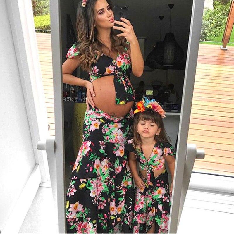 0-18 Mt Mutter Und Tochter Kleidung Set Familie Passenden Outfits Frauen Baby Mädchen Crop Tops T-shirt Boho Strand Rock Blumen Kleid Rheuma Lindern