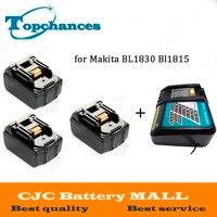 Высокое качество 3 шт. Новый 3000 мАч 18 Вольт Li Ion Мощность инструмент Батарея для Makita BL1830 Bl1815 194230 4 LXT400 + Зарядное устройство