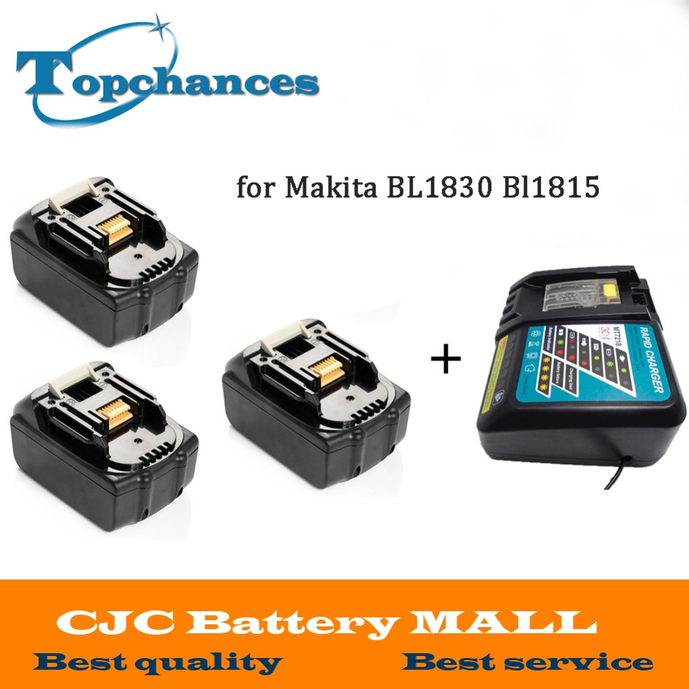 High Quality 3PCS Brand NEW 3000mAh 18 VOLT Li-Ion Power Tool Battery for Makita BL1830 Bl1815 194230-4 LXT400 + Charger power tool battery hit 25 2v 3000mah li ion dh25dal dh25dl bsl2530 328033 328034 page 6