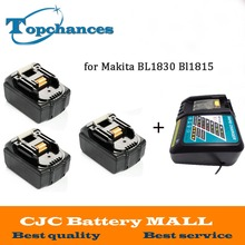 High Quality 3PCS Brand NEW 3000mAh 18 VOLT Li-Ion Power Tool Battery for Makita BL1830 Bl1815 194230-4 LXT400 + Charger