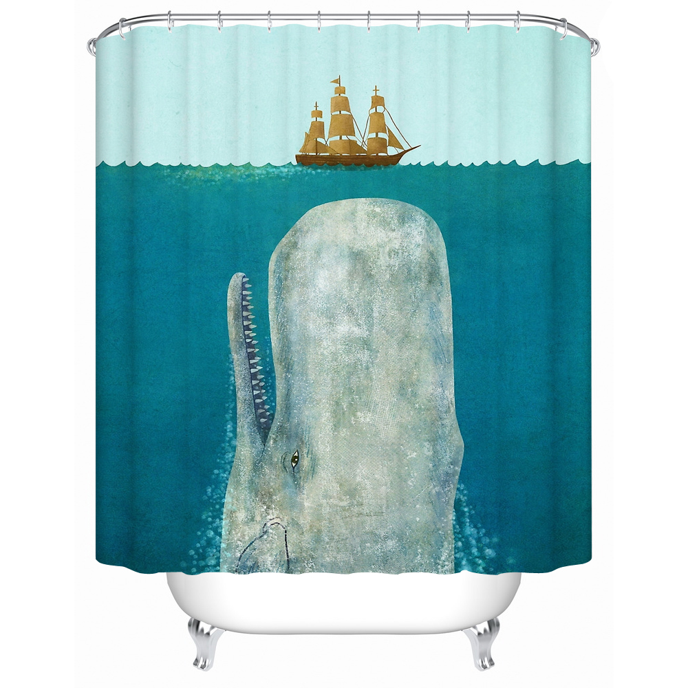 Angry Whale Rammed The Boat Waterproof Shower Curtain Bathroom Eco Friendly Products Curtains