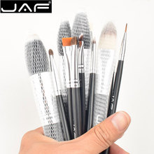 JAF 12pcs/set Makeup Brush Set Kit with Cylindrical leather box Foundation Blusher Face Powder Eyeliner Eye Lips Brushes