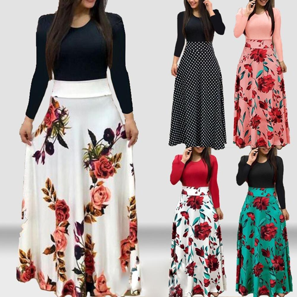New Summer Flower Dot Print Color Matching Long Sleeve High Waist Women Maxi Dress