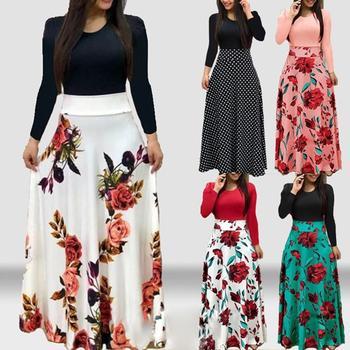 Vintage Floral Print Boho Dress Women Dot Color Matching Long Sleeve High Waist Maxi Party Beach Summer