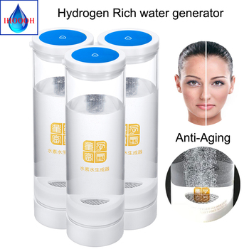 IHOOOH manufacturer Hydrogen rich generator water bottle Anti-Aging water ionizer H2 and O2 600ml USB Rechargeable glass cup