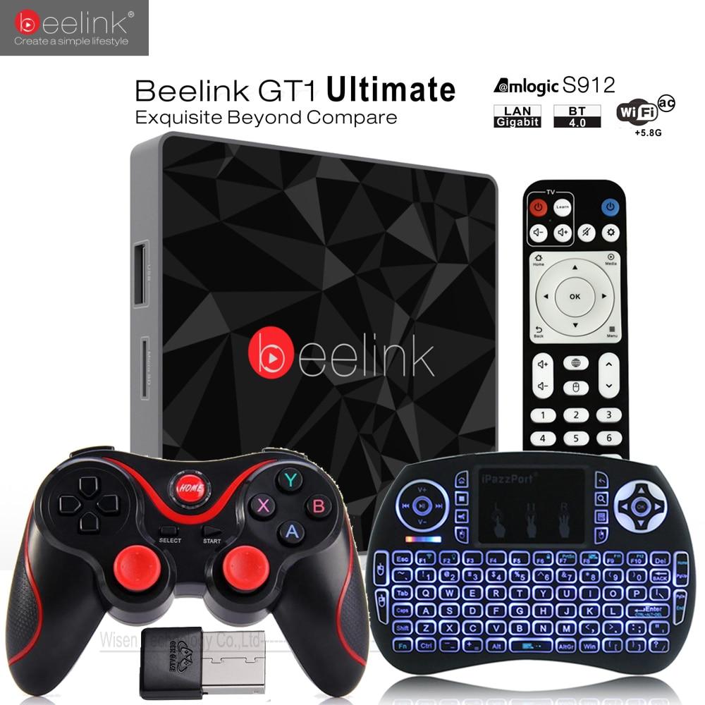 Beelink GT1 Ultimate ТВ коробка 3 г 32 г Amlogic S912 Восьмиядерный Процессор DDR4 2.4 г + 5.8 Г двойной Wi-Fi Android 7.1 Декодер каналов кабельного телевидения media player