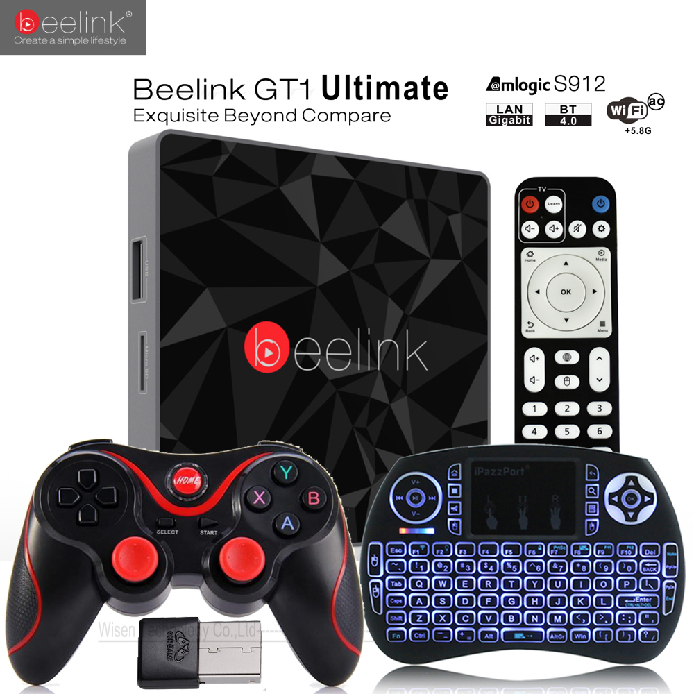 Beelink GT1 Ultimate TV Box 3G 32G Amlogic S912 Octa Core CPU DDR4 2.4G + 5.8G Dual WiFi Android 7.1 Set Top Box Media lettore