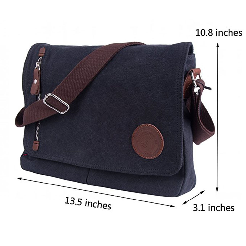 Men s Black Vintage Messenger Bags Canvas Satchel School Military Shoulder  Bag Boy s Travel Handbag Business Crossbody Bag 42360feb83635
