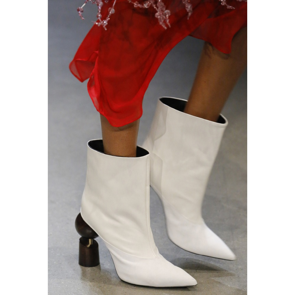 Sestito The Latest Women Fall Strange Style High Heels Ankle Boots Lady Fashion Pointed Toe Dress Short Boots Girl Slip-on Shoes european style fashion pointed toe shallow slip on strange women high heels shoes suede flock upper girl wedding nude footwear