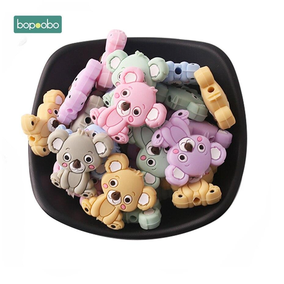 Bopoobo 5pc Baby Teething Beads Silicone Koala Beads Silicone Pearls Nursing Gifts Silicone Rodents Baby Nursing Gifts