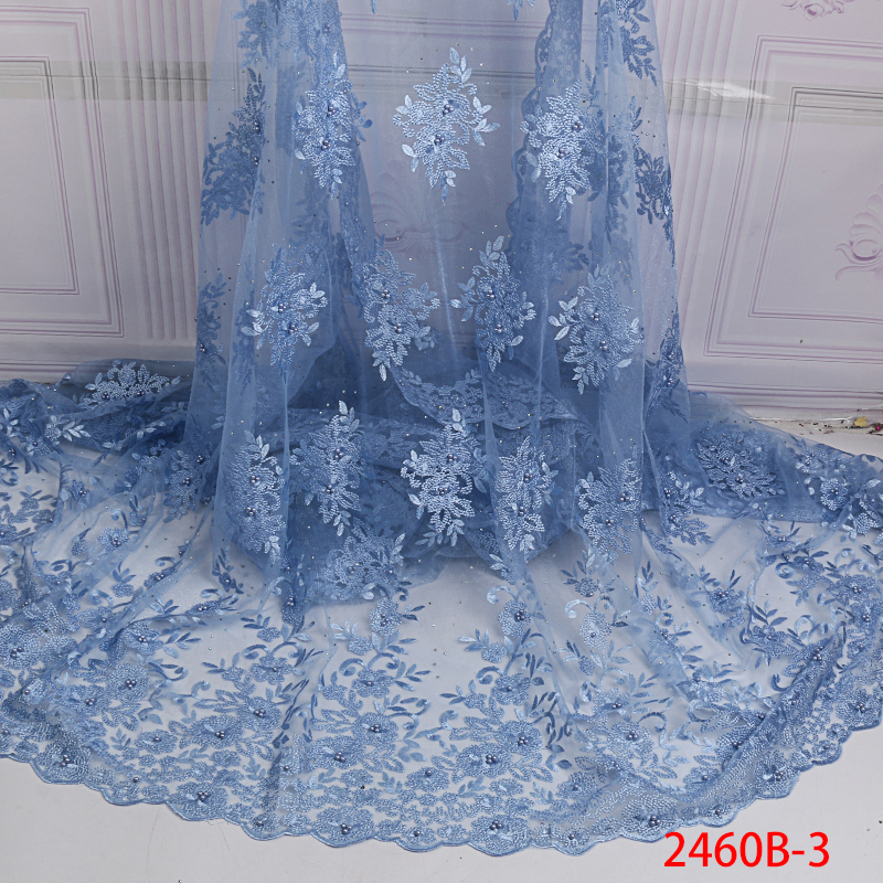 French Net Lace Fabric with Beads 2019 Latest High Quality African Tulle Lace Fabric Embroidery Lace