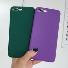 ФОТО xbxcase dark green purple color tpu matte case for iphone 8 plus x soft back cover for iphone 6 6s silicone case for iphone 7