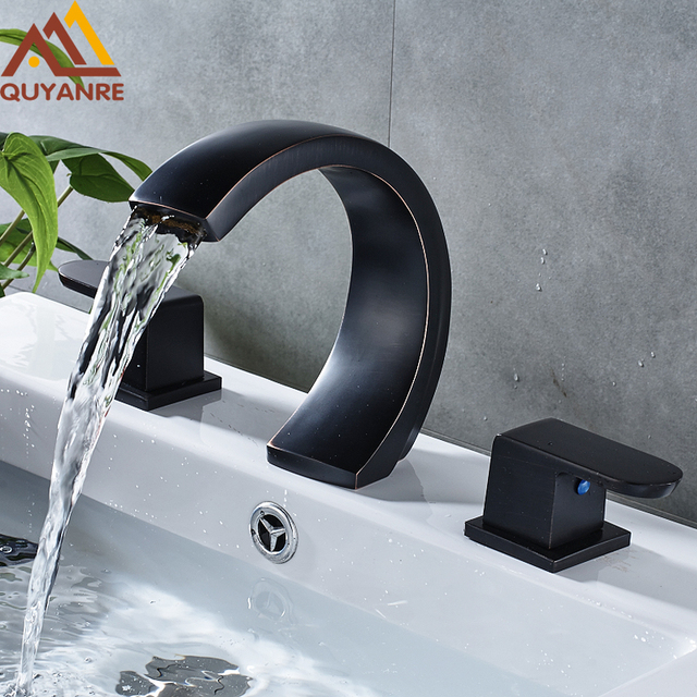 Blackend Brass ORB Deck Mounted Moon Type Basin Faucet Widespread ...