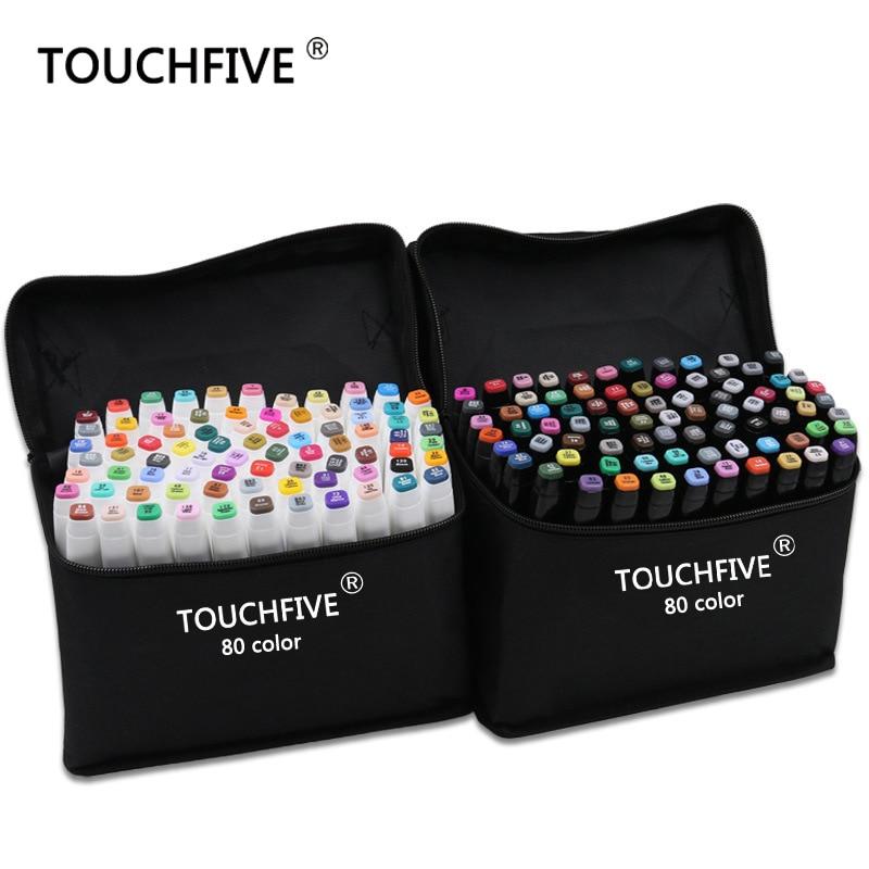 Marcador TouchFive 30/40/60/80/168 colores pluma pincel pluma alcohol aceitoso base tinta arte marcador para Manga Dual Headed Sketch marcadores
