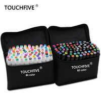 TouchFive маркер 30/40/60/80/168 цветов авторучка Алкогольная масляная на основе чернил художественный маркер для манги двухголовый эскиз маркеры