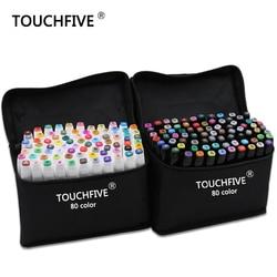 TouchFive ماركر 30/40/60/80/168 ألوان فرشاة قلم القلم أقلام تلوين الحبر الكحولية الزيتية القائمة على مانغا علامات رسم مزدوجة الرأس