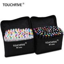 TouchFive Marker 30/40/60/80/168 Colors pen Brush pen Alcoholic Oily based ink Art Marker For Manga Dual Headed Sketch Markers(China)