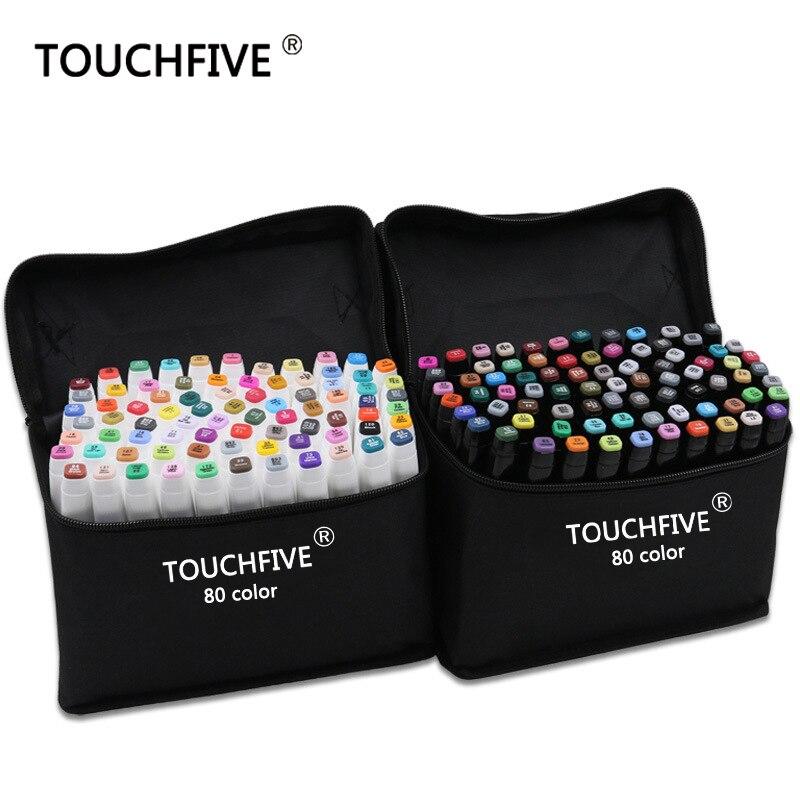 TouchFive marcador/30/40/60/80/168 colores pluma cepillo pluma pincel de alcohólico grasa tinta a base de arte marcador para Manga Dual hacia dibujo marcadores