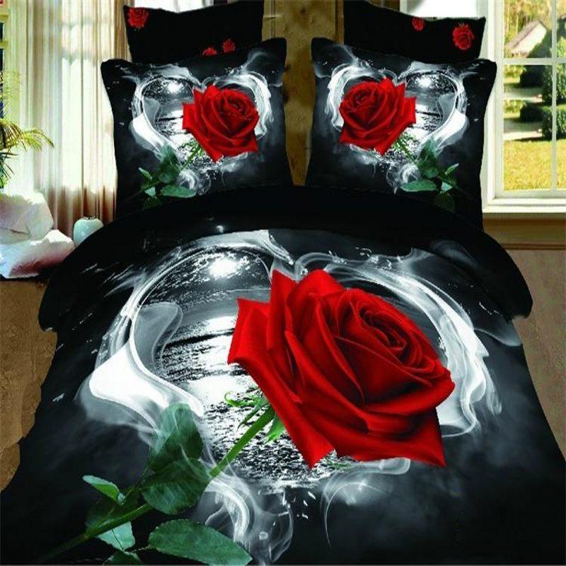 3D Rouge Rose literie queen size 4 pcs Floral duvet noir couette/housse de couette linge de lit draps de coton accueil textile