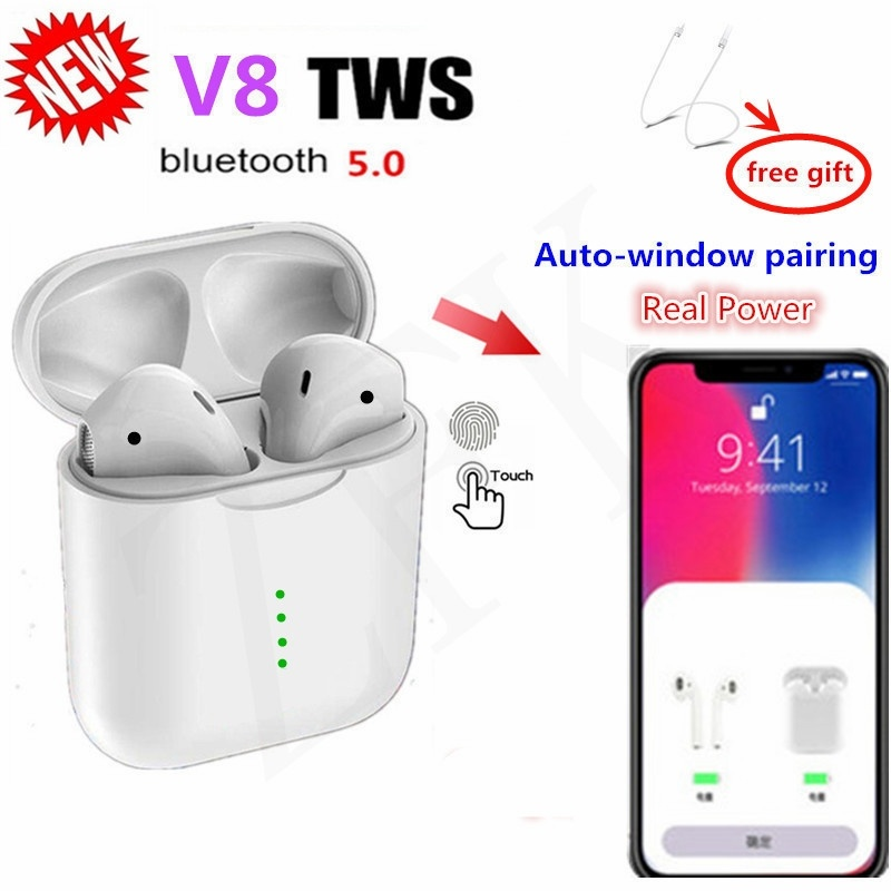 Newest V8 TWS Bluetooth Headset With Pop-ups Window Wireless Bluetooth 5.0 Touch Earphones PK for i10 i12 Earphones For iPhone