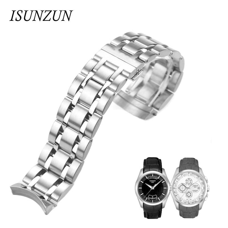 ФОТО ISUNZUN Men's Watch Bands For Tissot 1853 Qutub T035 Strip Steel Watch Strap T035627A High Quality Watchband Watches Accessories