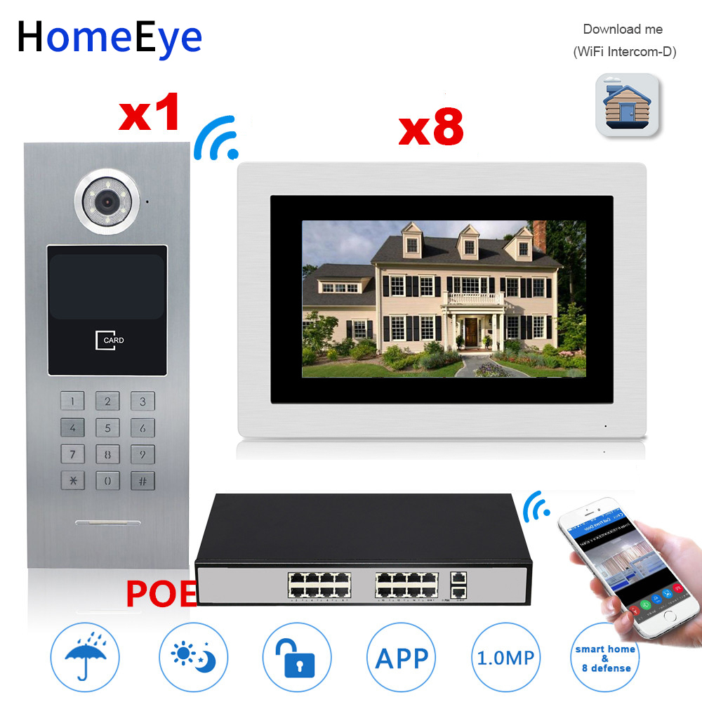 HomeEye 7'' 720P WiFi IP Video Door Phone Video Intercom Home Access Control System Touch Screen Password/RFID Card + POE Switch