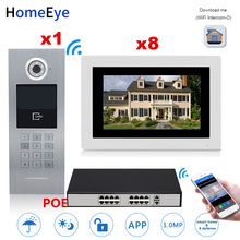 HomeEye 7'' 720P WiFi IP Video Door Phone Video Intercom Home Access Control System Touch Screen Password/RFID Card + POE Switch 7 inch password id card video door phone home access control system wired video intercome door bell