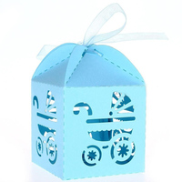 50pcs Carriage Pattern Paper Candy Sweets Gift Boxes Baby Shower Favors Sky Blue