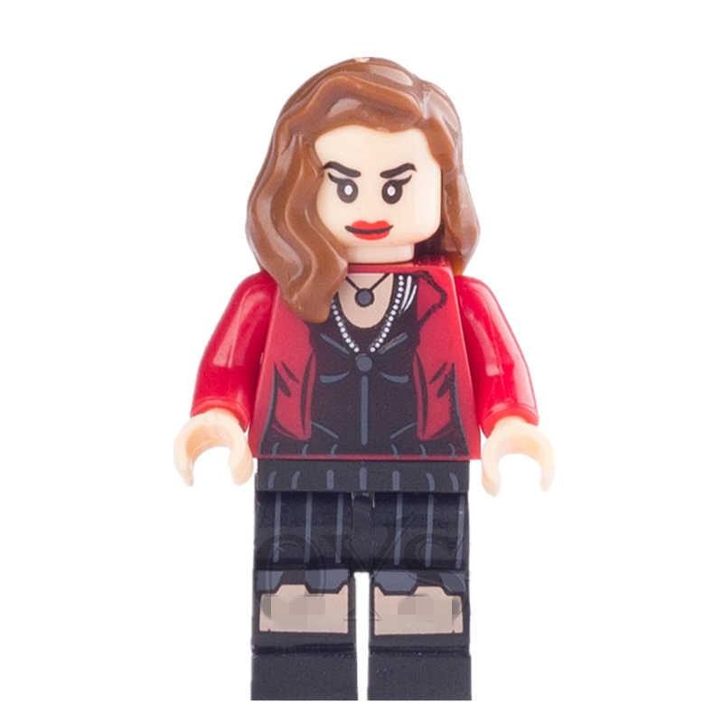Singsale scarlet witch wanda marvel super heróis os vingadores capitão américa minifig edifício montar blocos crianças brinquedos